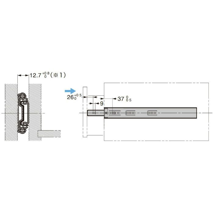 ランプ印 スライドレール 3670 セルフ&ソフトクロージング機構付 3670-450
