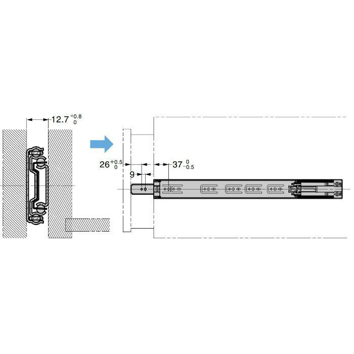ランプ印 スライドレール 4670 ブラック仕様 セルフ&ソフトクロージング機構付 PAT 4670-550BL
