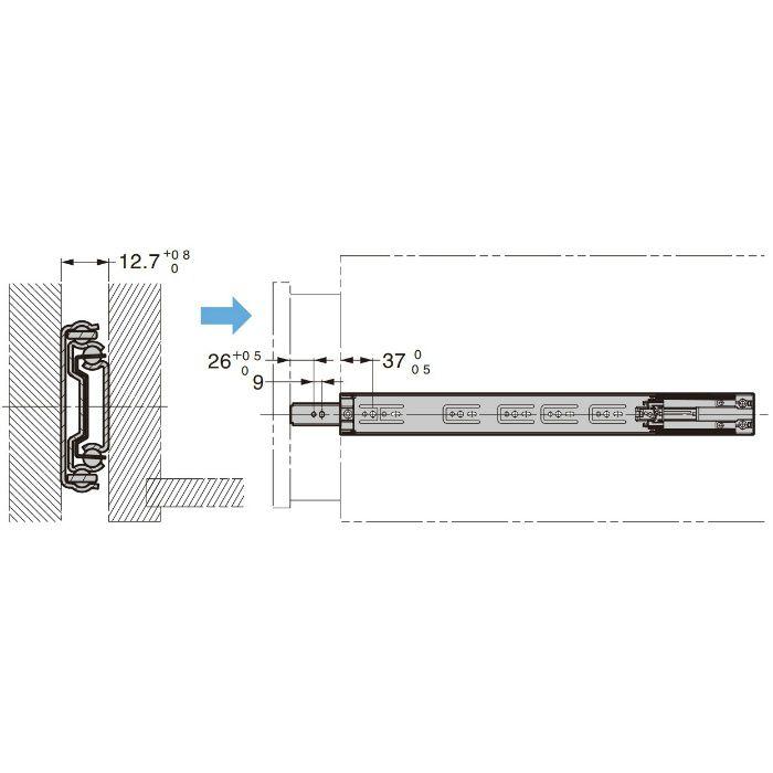 ランプ印 スライドレール4670 セルフ&ソフトクロージング機構付 金色めっき仕様 PAT 4670-500GA