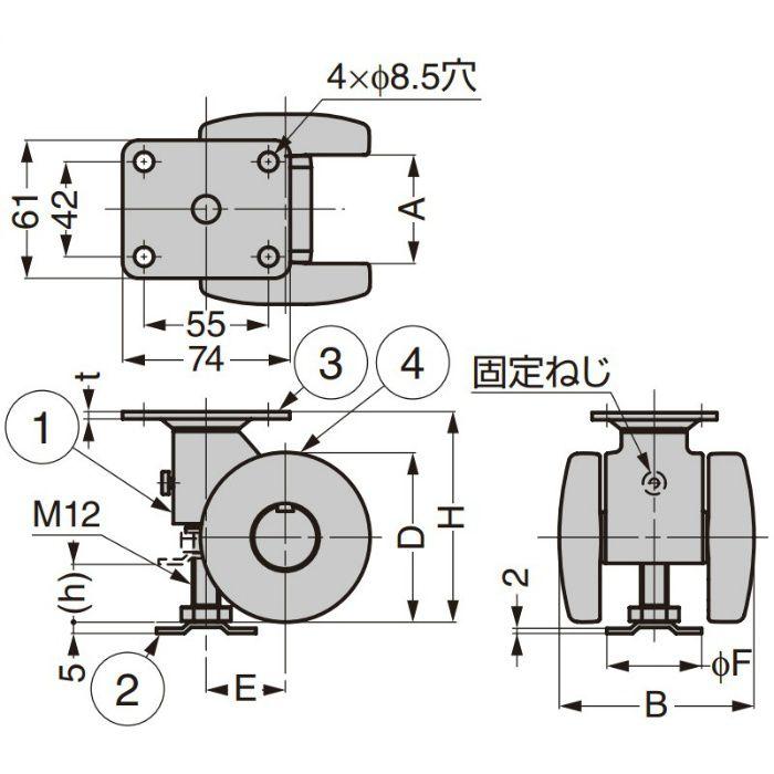 樹脂製アジャスター付キャスター CAP型 プレートタイプPAT.P ブラック CAPF75B
