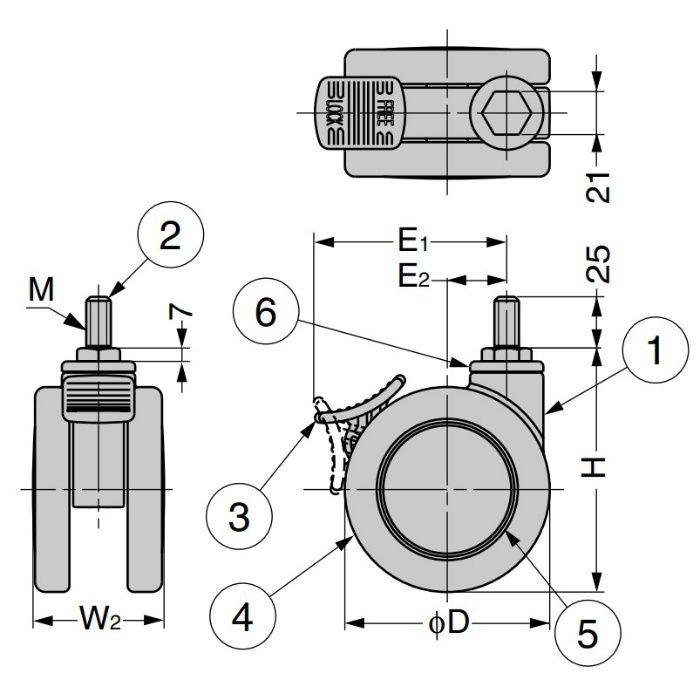 キャスター MFD型 ねじ込みタイプ ホワイト MFDB-125GWT