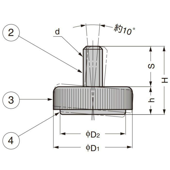 ランプ印 アジャスター MKR-N型 首振り機構付 MKR-N50N3