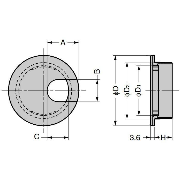 ランプ印 配線孔キャップ LSU型 片側はめ込みタイプPAT ホワイト LSU60S-WT