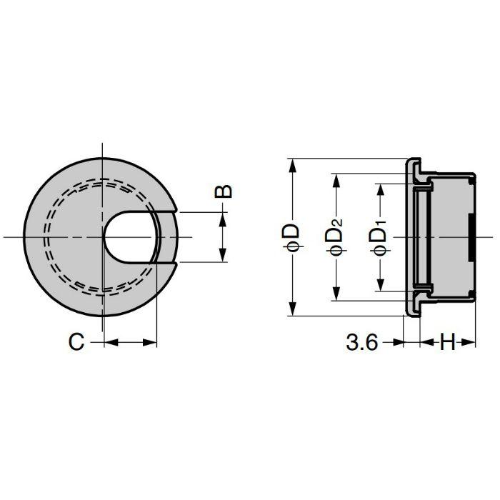 ランプ印 配線孔キャップ LS型 片側はめ込みタイプPAT ブラウン LS43S-BL