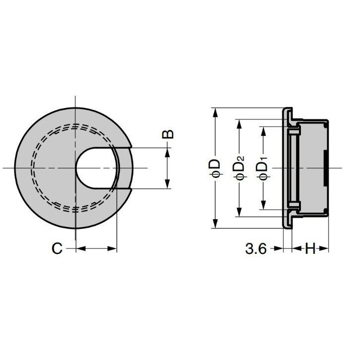 ランプ印 配線孔キャップ LS型 片側はめ込みタイプPAT ライトブラウン LS50S-LBR
