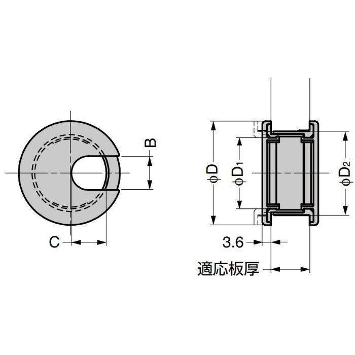 ランプ印 配線孔キャップLS型 挟み込みタイプPAT ベージュ LS43BE