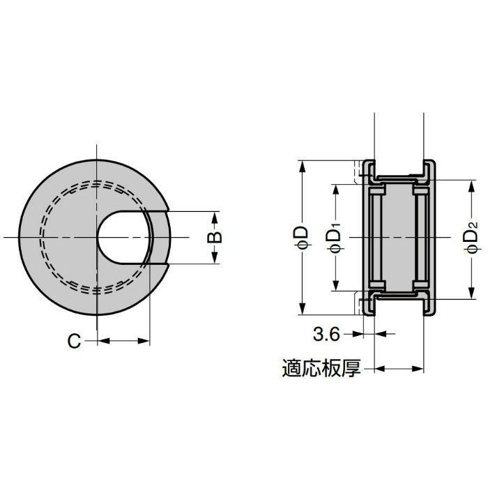 ランプ印 配線孔キャップLS型 挟み込みタイプPAT ブラウン LS50BL