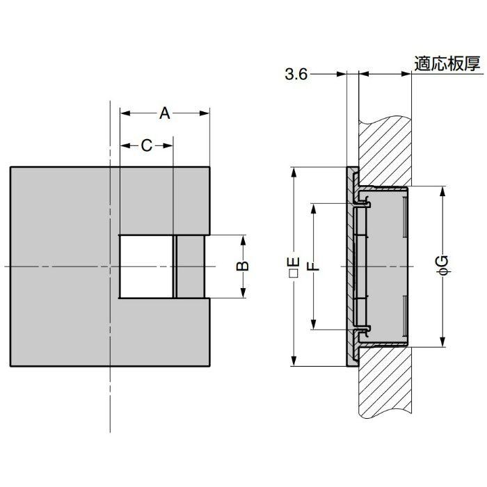 ランプ印 配線孔キャップ LS60KS型 片側はめ込みタイプPAT サイズ□60 ブラック LS60KS-BL