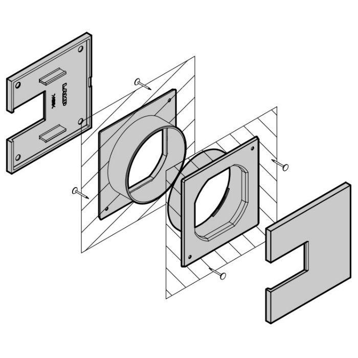ランプ印 角型配線孔キャップ LS76K型挟み込みタイプPAT サイズ□76 ダークブラウン LS76K-DBR