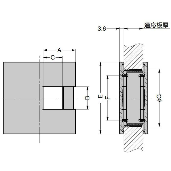 ランプ印 角型配線孔キャップ LS76K型挟み込みタイプPAT サイズ□76 ブラック LS76K-BL