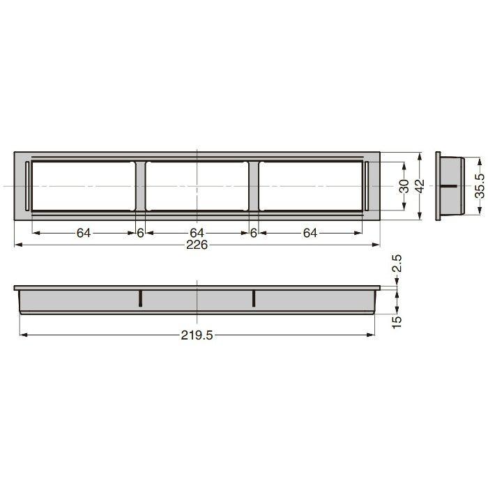 ランプ印 プラスチック製空気孔 APK-K型 配線孔機能付きPAT フレーム ホワイト APK-KF226P-WT