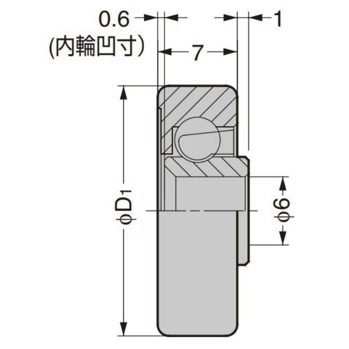 防錆型樹脂ベアリング CD型 外周フラットタイプ 内軸穴仕様 CD-357/68SUS
