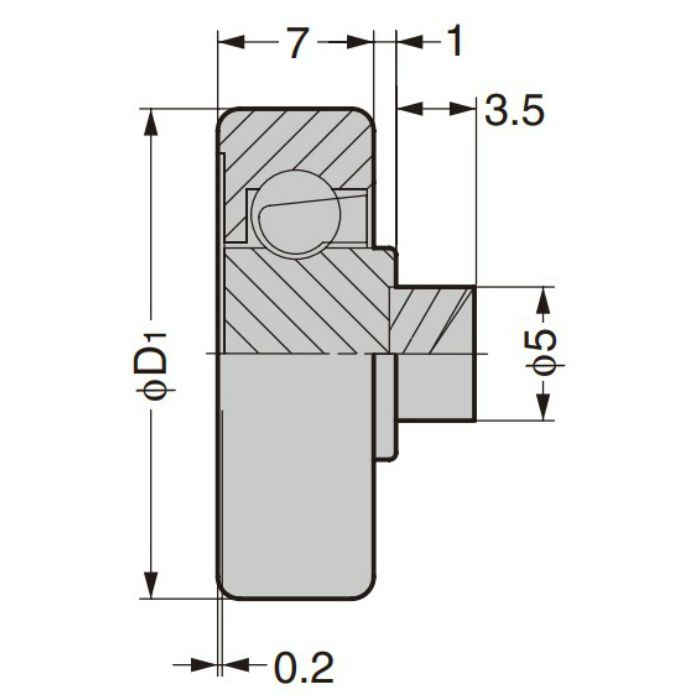 防錆型樹脂ベアリング CD型 外周フラットタイプ 軸かしめ仕様 CD-287/P5SUS