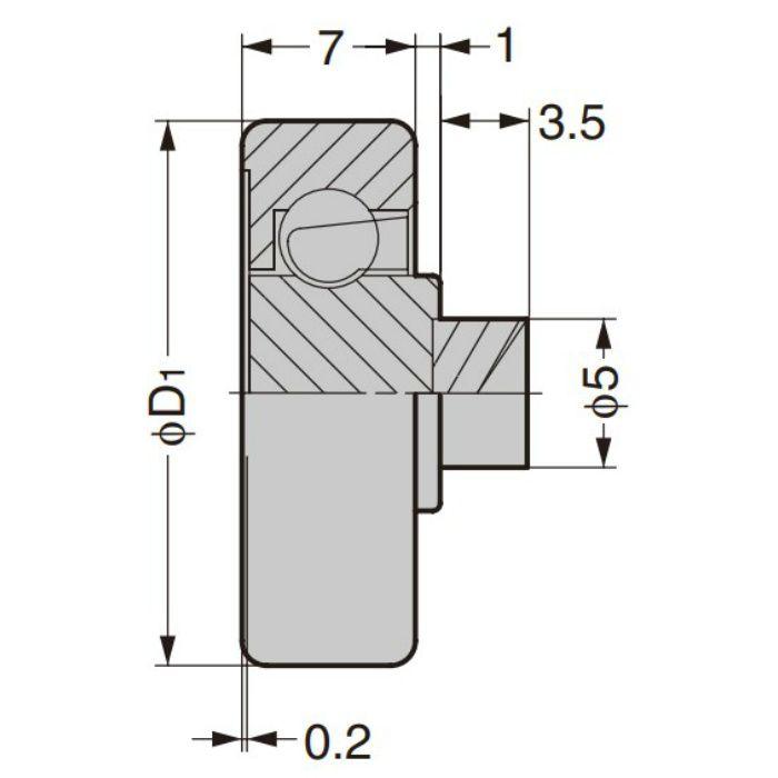 防錆型樹脂ベアリング CD型 外周フラットタイプ 軸かしめ仕様 CD-357/P5SUS
