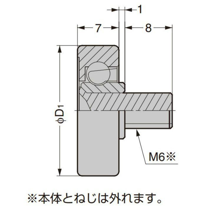 防錆型樹脂ベアリング CD型 外周フラットタイプ ねじ軸仕様 CD-227/S-1SUS