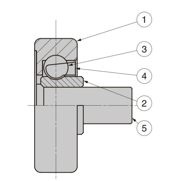 防錆型樹脂ベアリング MCD型 外周凸Rタイプ 軸かしめ仕様 MCD-267/P5SUS