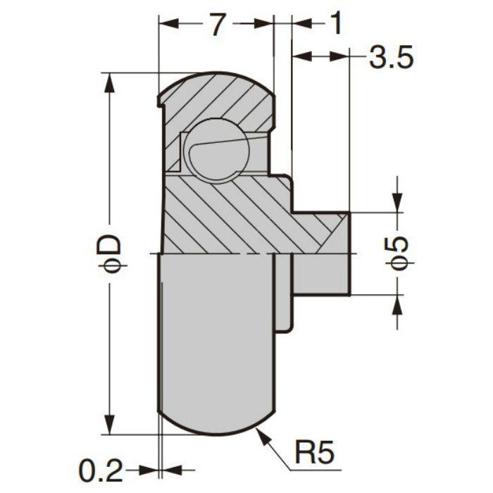 防錆型樹脂ベアリング MCD型 外周凸Rタイプ 軸かしめ仕様 MCD-307/P5SUS