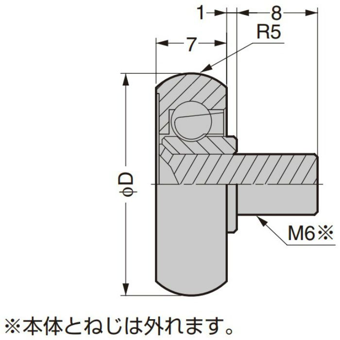 防錆型樹脂ベアリング MCD型 外周凸Rタイプ ねじ軸仕様 MCD-357/S-1SUS