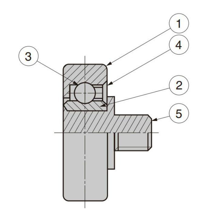 プラスチックベアリング 外周フラットタイプ 軸かしめ仕様 DR-22-AH(1)3.5-8019