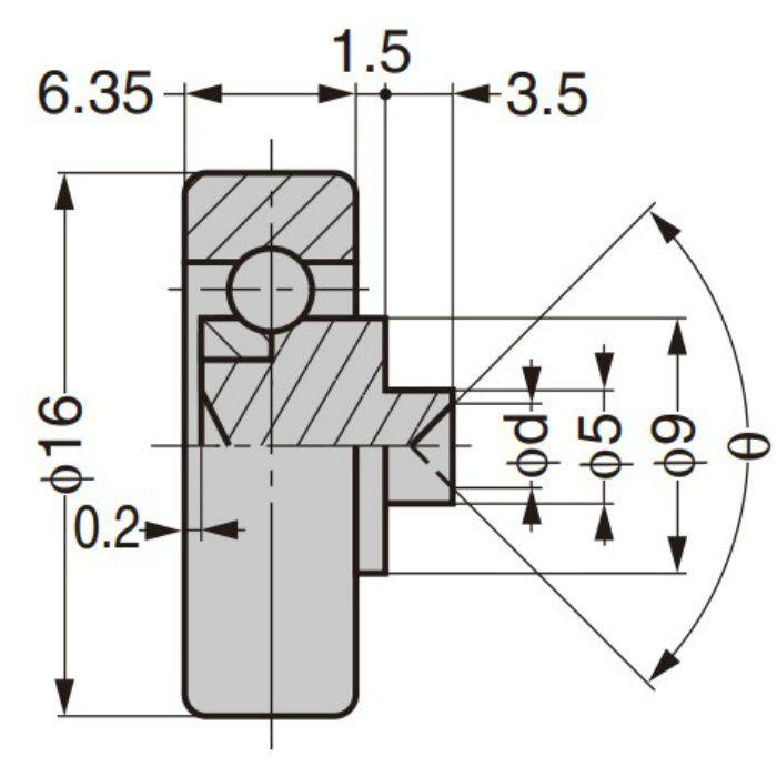 プラスチックベアリング 外周フラットタイプ 軸かしめ仕様 総ボールタイプ DRS-16-A1.5