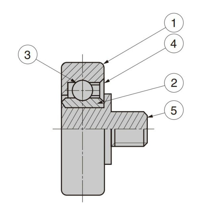 プラスチックベアリング 外周フラットタイプ 軸かしめ仕様 DR-22-AH2.5