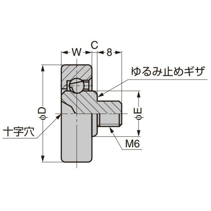 プラスチックベアリング 外周フラットタイプ ねじ軸仕様 DR-22-B5