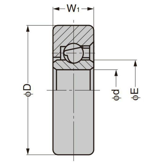 プラスチックベアリング 外周フラットタイプ 内軸穴仕様 DR-22-H8