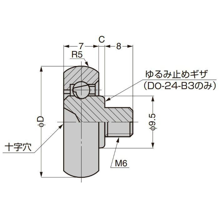 プラスチックベアリング 外周凸Rタイプ ねじ軸仕様 DO-24-B3