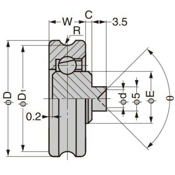 プラスチックベアリング 外周溝タイプ 軸かしめ仕様 DU-22-A1