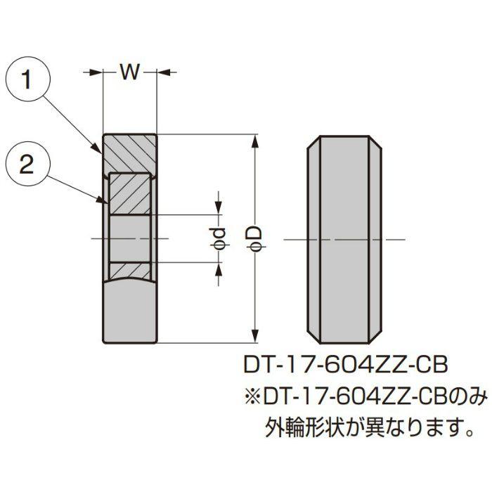 中荷重ベアリング DT型 スチールインサート仕様 内軸穴仕様 DT-19-L1260ZZ