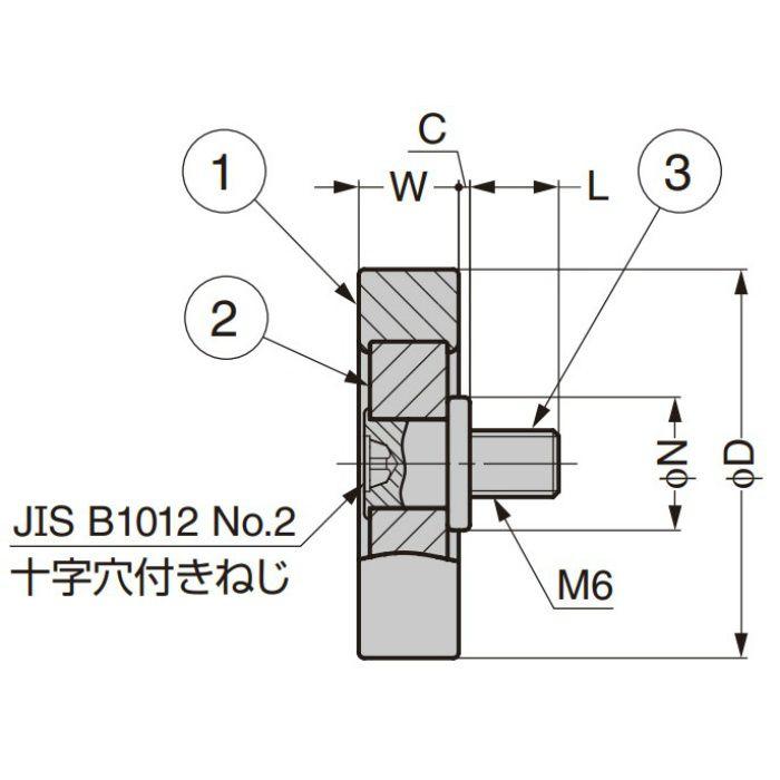 中荷重ベアリング DT型 スチールインサート仕様 ねじ軸仕様 DT-26-BH0.5-626ZZ