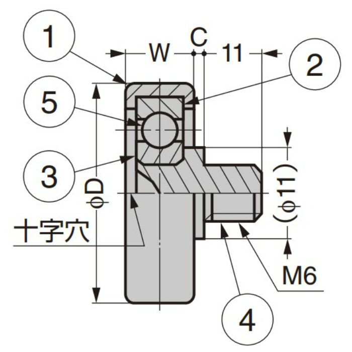 中荷重ベアリング IDS型 スチールインサート仕様 外周フラットタイプ ねじ軸仕様 IDS-22-B1.5-11