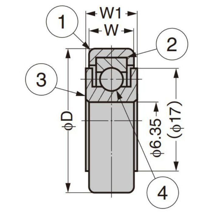 中荷重ベアリング IDS型 スチールインサート仕様 外周フラットタイプ 内軸穴仕様 IDS-26-H6.35W0.8