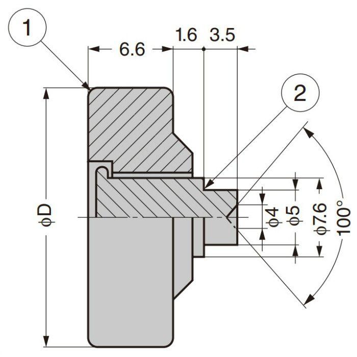 プラスチックローラー 外周フラットタイプ 軸かしめ仕様 DL-22-A1.6