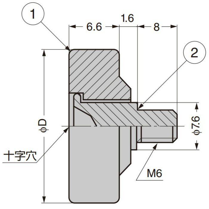 プラスチックローラー 外周フラットタイプ ねじ軸仕様 DL-26-B1.6
