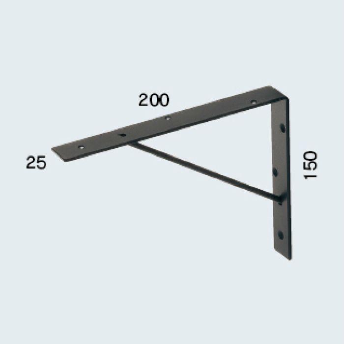 250-007-D ブラケット(平鋼・ツヤ消し黒色塗装)