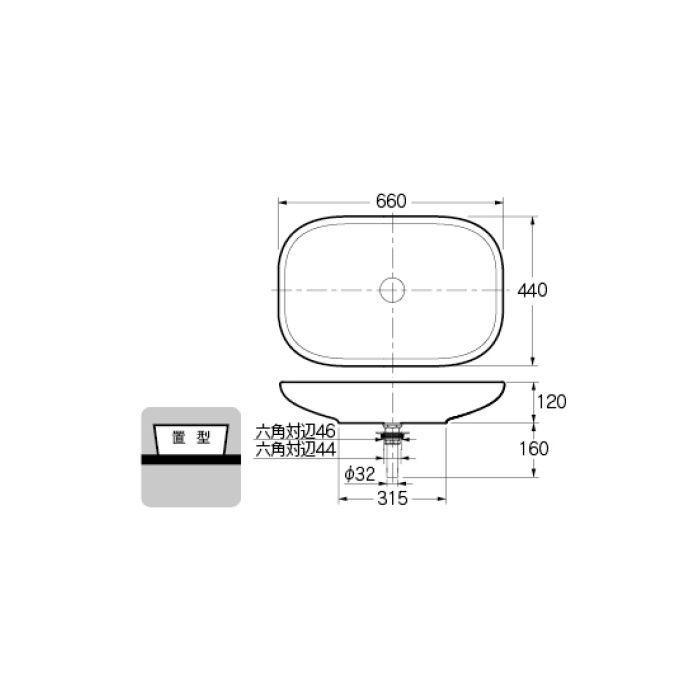#LY-493202 カウンター設置タイプ 丸型洗面器
