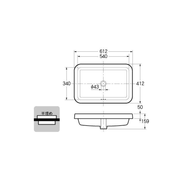 493-169 カウンター設置タイプ 角型洗面器