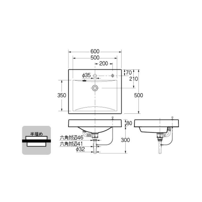 493-072H カウンター設置タイプ 角型洗面器(ポップアップ独立つまみタイプ)