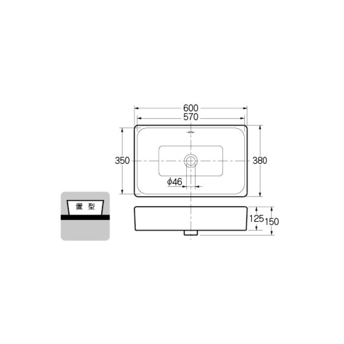 #VR-4434B0030012 カウンター設置タイプ 角型洗面器