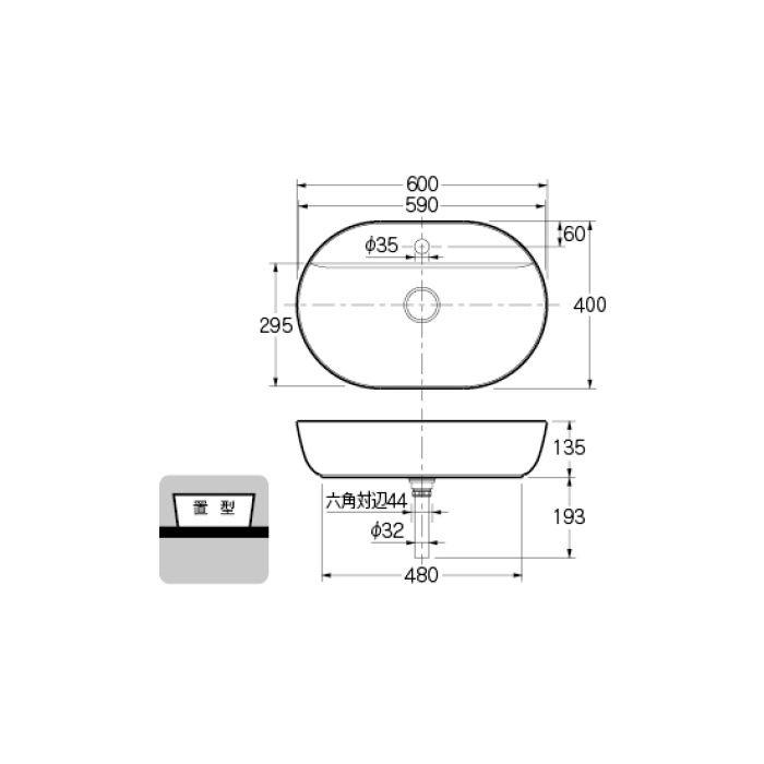 #DU-0380600000 カウンター設置タイプ 丸型洗面器