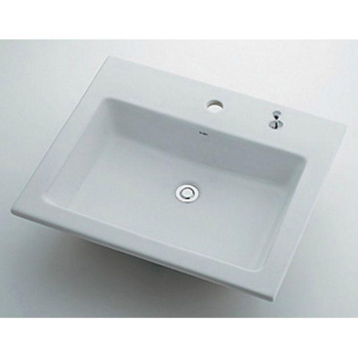 493-008H カウンター設置タイプ 角型洗面器(1ホール・ポップアップ独立つまみタイプ)