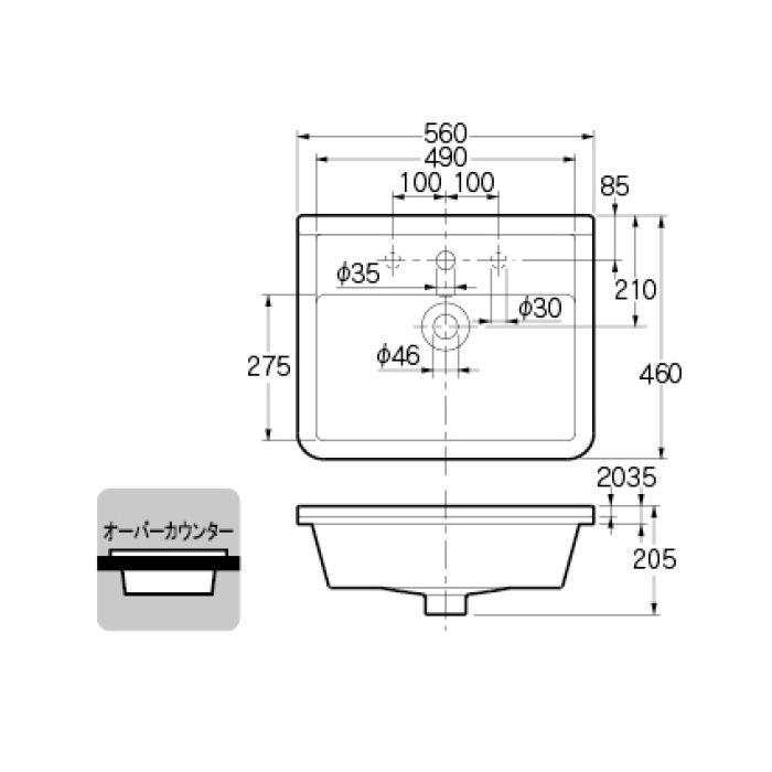 #DU-0302560030 カウンター設置タイプ 角型洗面器(3ホール)