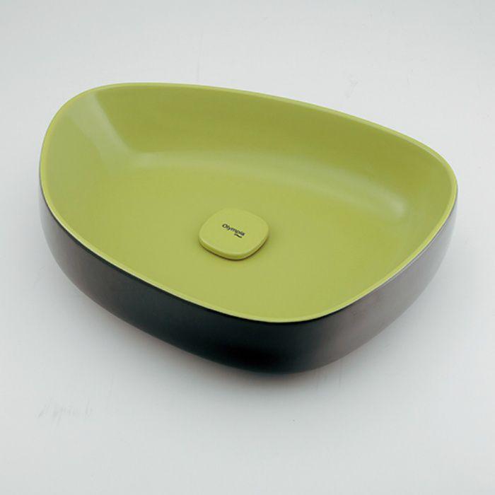 #LY-493210GD カウンター設置タイプ 洗面器 イエローグリーン/ブラック
