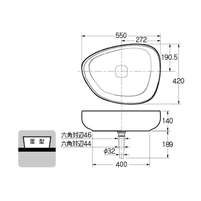 #LY-493210WD カウンター設置タイプ 洗面器 ホワイト/ブラック