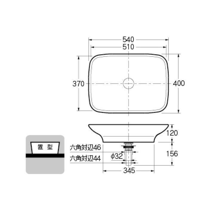 #LY-493218 カウンター設置タイプ 角型洗面器
