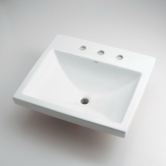 493-092 カウンター設置タイプ 角型洗面器(3ホール)