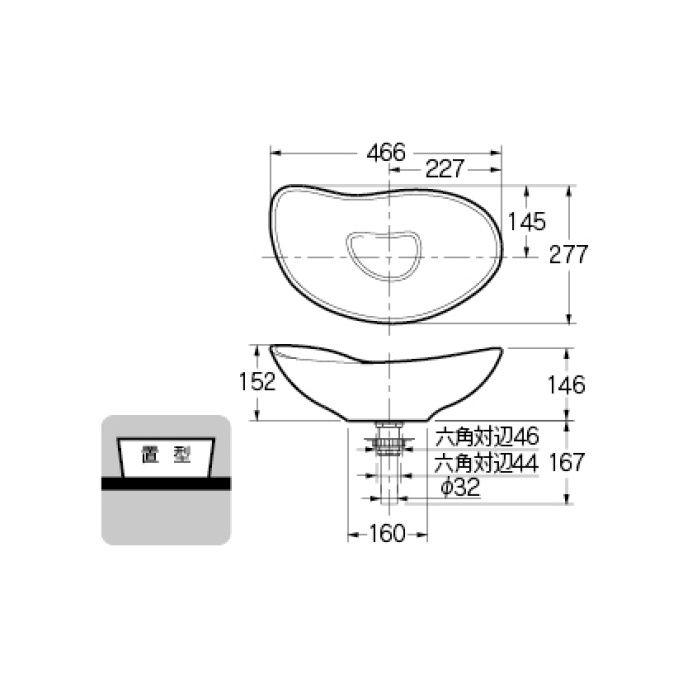 #MR-493222GR カウンター設置タイプ 手洗器 空豆