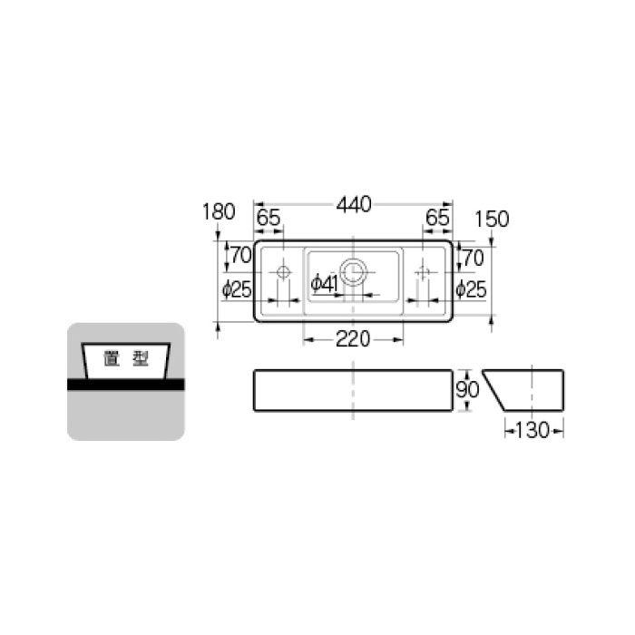 493-064 カウンター設置タイプ 角型手洗器(Rホール)