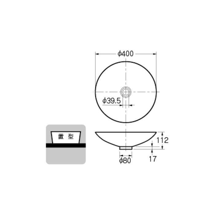 493-045-D カウンター設置タイプ 丸型洗面器 ブラック